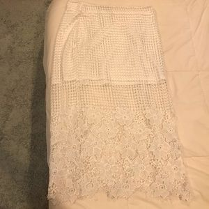 J.O.A. Skirts - white lace overlay skirt